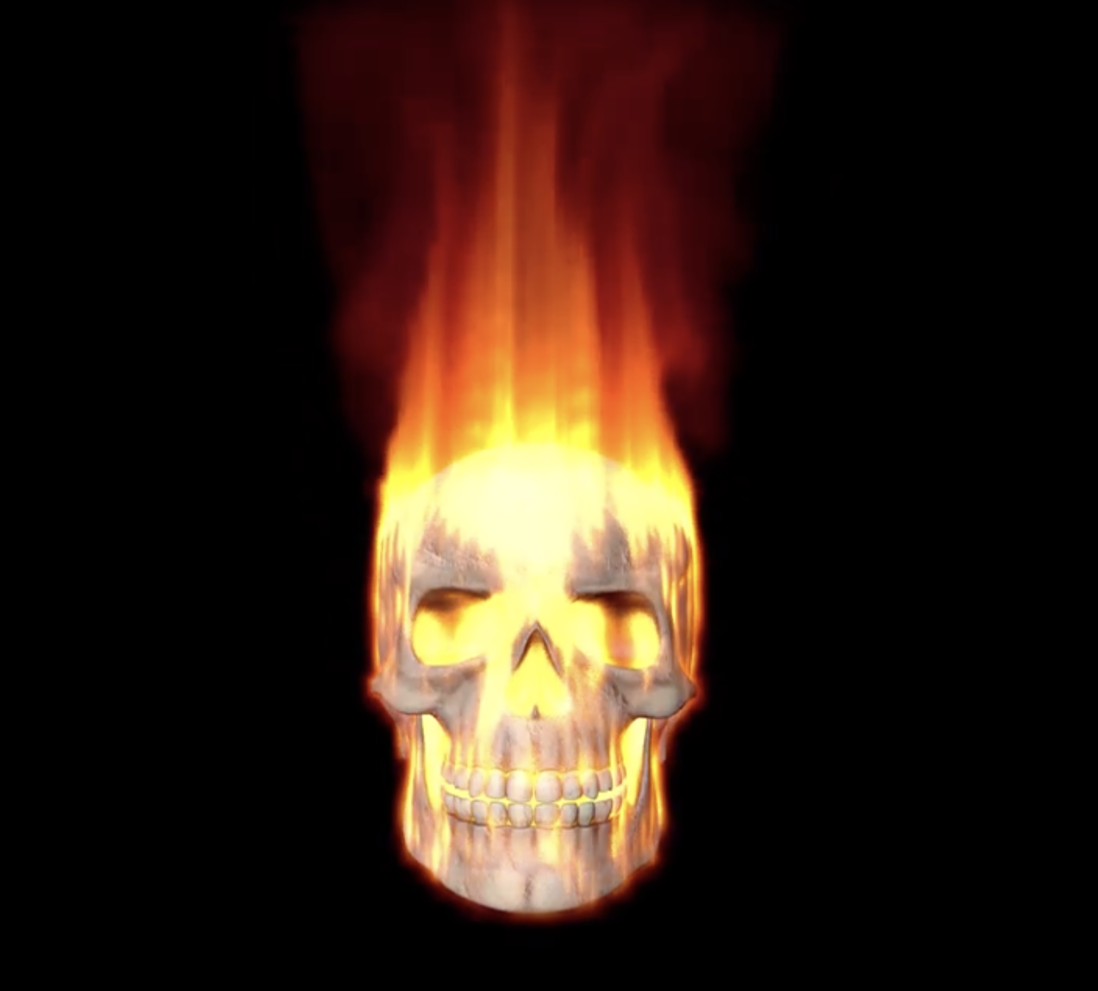 Hologram 3d test render Cinema 4d Flames Skull